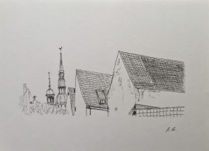 Black and white graphics – Old Riga
